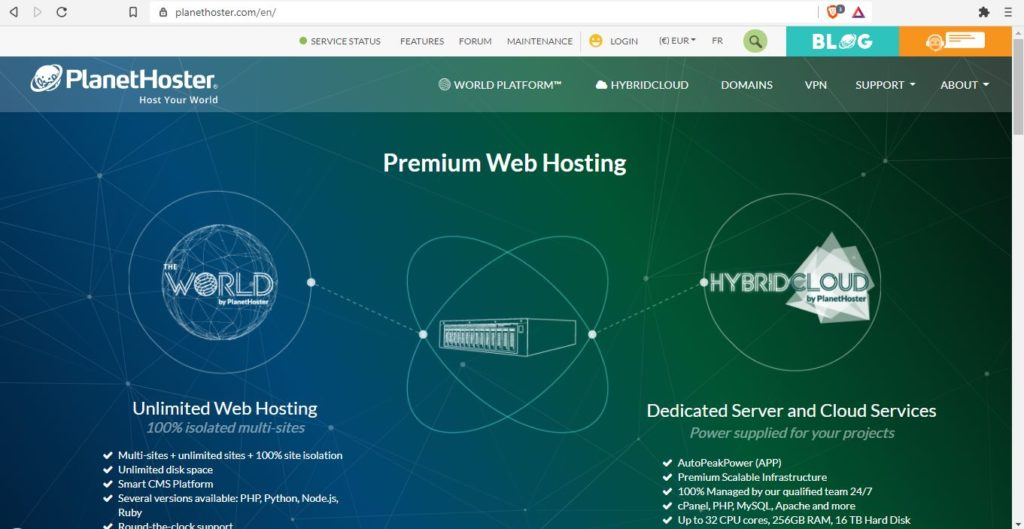 Homepage da PlanetHoster