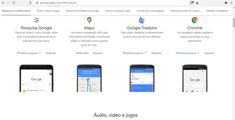 Lista dos serviços do Google