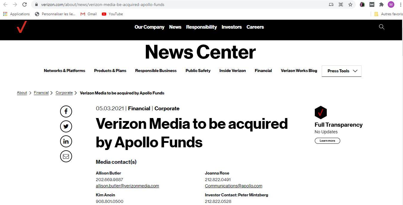 Verizon vende a Yahoo